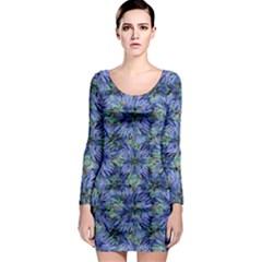 Modern Nature Print Pattern 7200 Long Sleeve Bodycon Dress