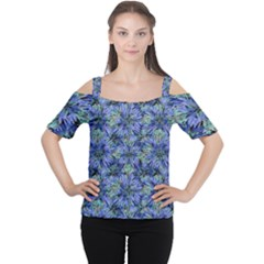 Modern Nature Print Pattern 7200 Cutout Shoulder Tee