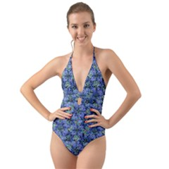 Modern Nature Print Pattern 7200 Halter Cut Out One Piece Swimsuit