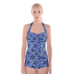 Modern Nature Print Pattern 7200 Boyleg Halter Swimsuit