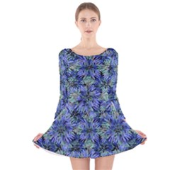 Modern Nature Print Pattern 7200 Long Sleeve Velvet Skater Dress