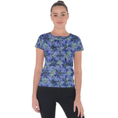 Modern Nature Print Pattern 7200 Short Sleeve Sports Top