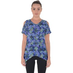 Modern Nature Print Pattern 7200 Cut Out Side Drop Tee