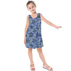 Modern Nature Print Pattern 7200 Kids  Sleeveless Dress