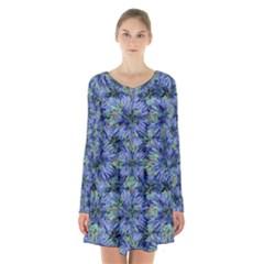 Modern Nature Print Pattern 7200 Long Sleeve Velvet V Neck Dress
