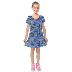 Modern Nature Print Pattern 7200 Kids  Short Sleeve Velvet Dress