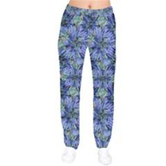 Modern Nature Print Pattern 7200 Velvet Drawstring Pants