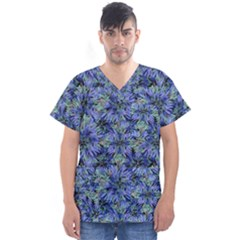 Modern Nature Print Pattern 7200 Men s V Neck Scrub Top