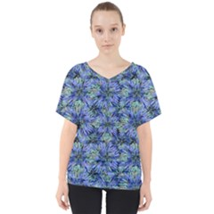 Modern Nature Print Pattern 7200 V Neck Dolman Drape Top