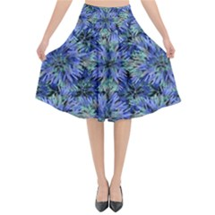Modern Nature Print Pattern 7200 Flared Midi Skirt