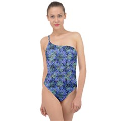 Modern Nature Print Pattern 7200 Classic One Shoulder Swimsuit