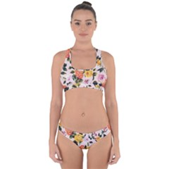 Colorful Roses Print Cross Back Hipster Bikini Set