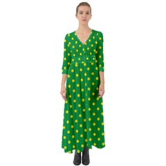 Polkadot Yellow Button Up Boho Maxi Dress