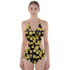 Yellow Tulip Print Cut Out One Piece Swimsuit
