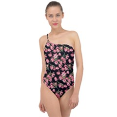 Pink Tulip Print Classic One Shoulder Swimsuit