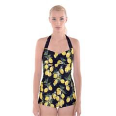 Lemons Print Boyleg Halter Swimsuit