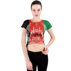 Flag Of Afghanistan Crew Neck Crop Top by abbeyz71