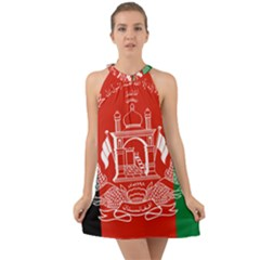 Flag Of Afghanistan Halter Tie Back Chiffon Dress