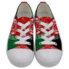 Flag Of Afghanistan Kids  Low Top Canvas Sneakers