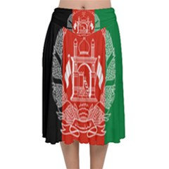 Flag Of Afghanistan Velvet Flared Midi Skirt