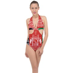 Flag Of Afghanistan Halter Front Plunge Swimsuit
