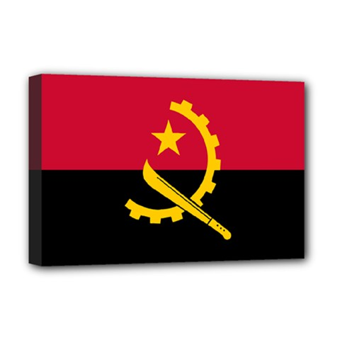 Flag Of Angola Deluxe Canvas 18  X 12