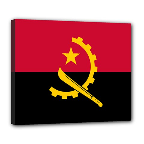 Flag Of Angola Deluxe Canvas 24  X 20