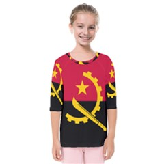 Flag Of Angola Kids  Quarter Sleeve Raglan Tee