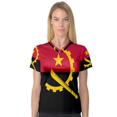 Flag Of Angola V Neck Sport Mesh Tee