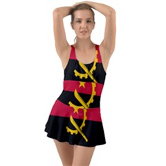 Flag Of Angola Ruffle Top Dress Swimsuit