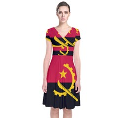 Flag Of Angola Short Sleeve Front Wrap Dress