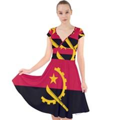 Flag Of Angola Cap Sleeve Front Wrap Midi Dress