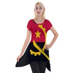 Flag Of Angola Short Sleeve Side Drop Tunic