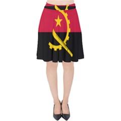 Flag Of Angola Velvet High Waist Skirt