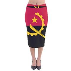 Flag Of Angola Velvet Midi Pencil Skirt