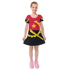 Flag Of Angola Kids  Short Sleeve Velvet Dress