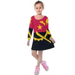 Flag Of Angola Kids  Long Sleeve Velvet Dress