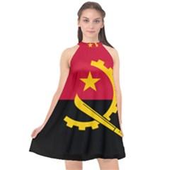 Flag Of Angola Halter Neckline Chiffon Dress