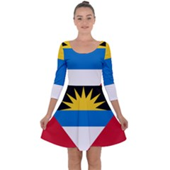 Flag Of Antigua & Barbuda Quarter Sleeve Skater Dress