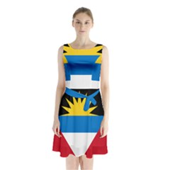Flag Of Antigua & Barbuda Sleeveless Waist Tie Chiffon Dress