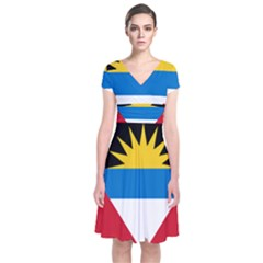 Flag Of Antigua & Barbuda Short Sleeve Front Wrap Dress