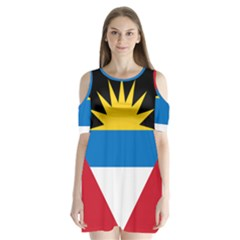 Flag Of Antigua & Barbuda Shoulder Cutout Velvet One Piece