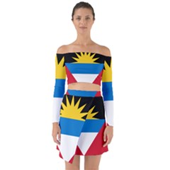 Flag Of Antigua & Barbuda Off Shoulder Top With Skirt Set
