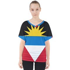 Flag Of Antigua & Barbuda V Neck Dolman Drape Top