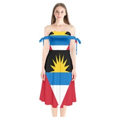 Flag Of Antigua & Barbuda Shoulder Tie Bardot Midi Dress