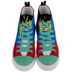 Flag Of Antigua & Barbuda Women s Mid Top Canvas Sneakers