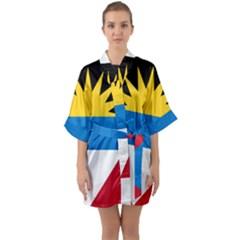 Flag Of Antigua & Barbuda Quarter Sleeve Kimono Robe