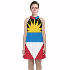 Flag Of Antigua & Barbuda Velvet Halter Neckline Dress