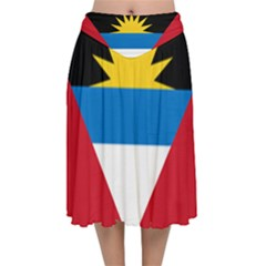 Flag Of Antigua & Barbuda Velvet Flared Midi Skirt