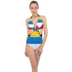 Flag Of Antigua & Barbuda Halter Front Plunge Swimsuit